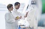 Two scientists work in laboratory