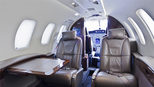 Inside of a jet plane